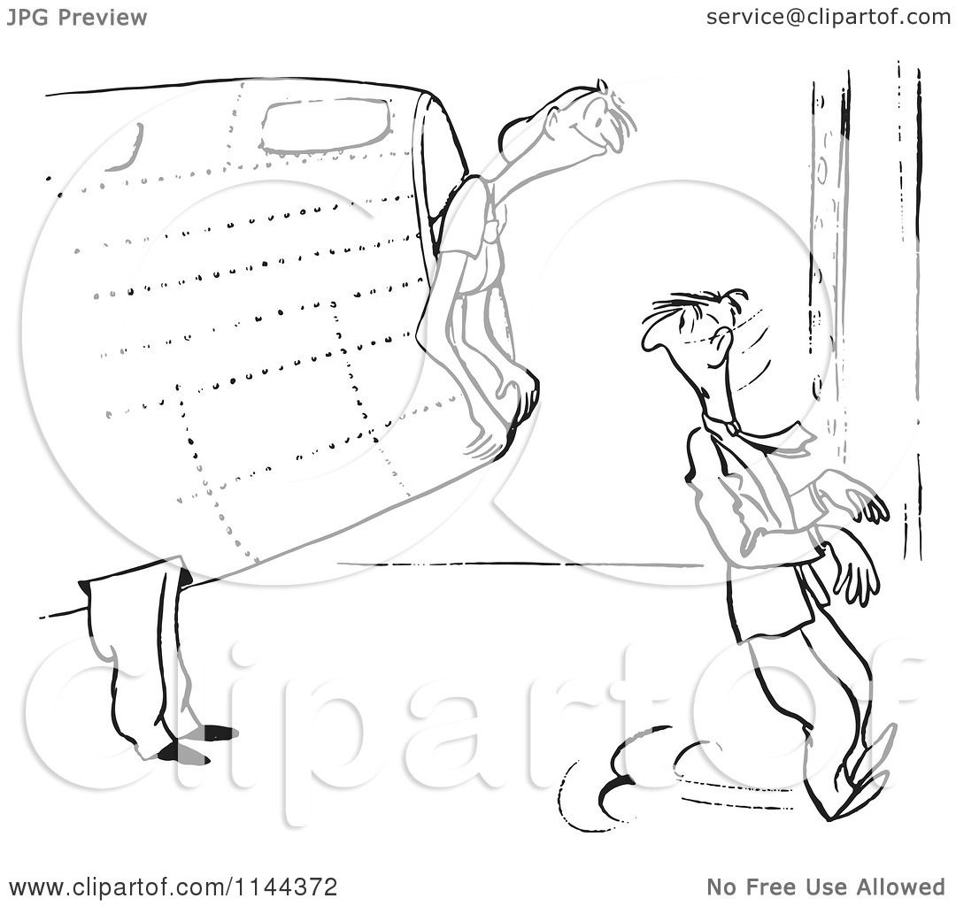 Cartoon Of A Black And White Female Airplane Factory