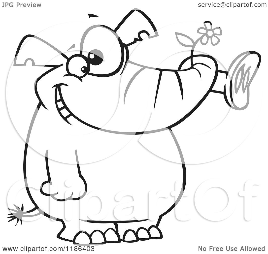 cartoon of a black and white giddy elephant holding a flower in