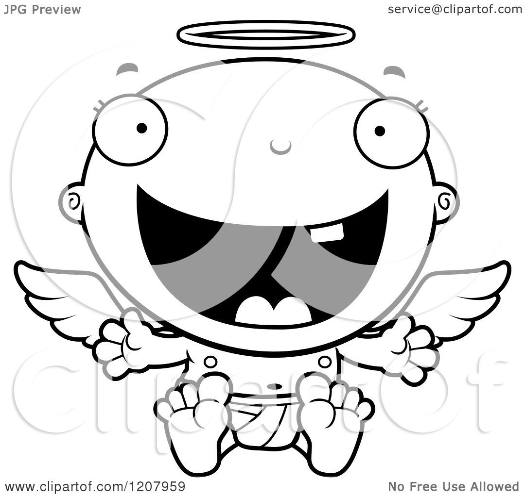 Baby Angel Clipart Black And White
