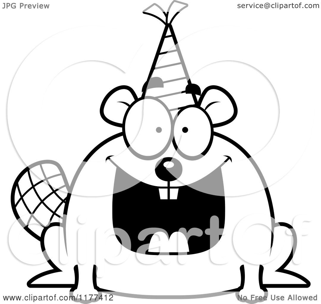 cartoon of a black and white happy birthday beaver wearing a party hat