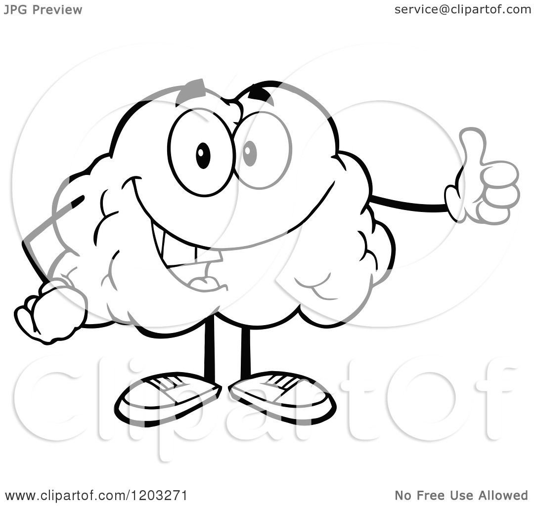 cartoon of a black and white happy brain mascot holding a thumb up