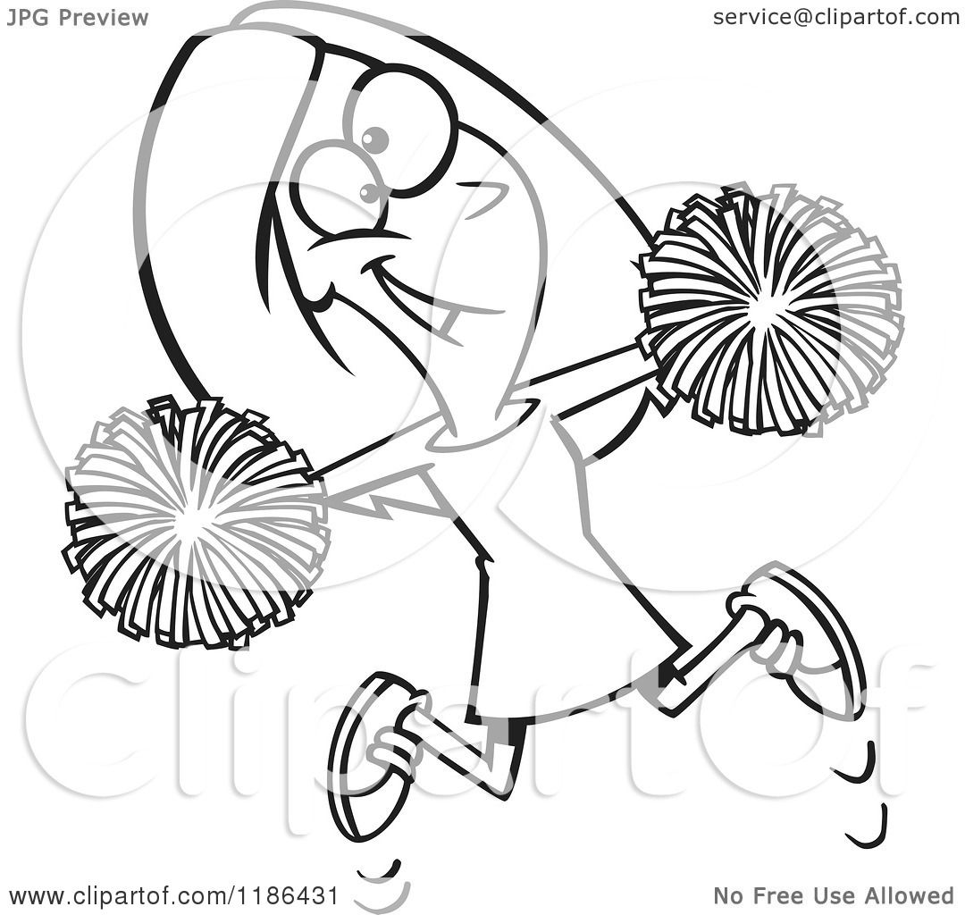 Cartoon of a black and white happy cheerleader jumping with pom poms royalty free vector