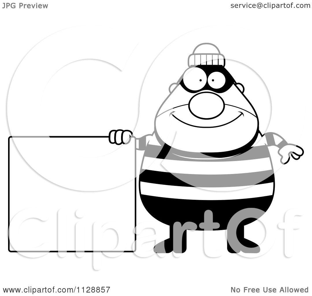 Cartoon Of A Black And White Happy Chubby Burglar Or
