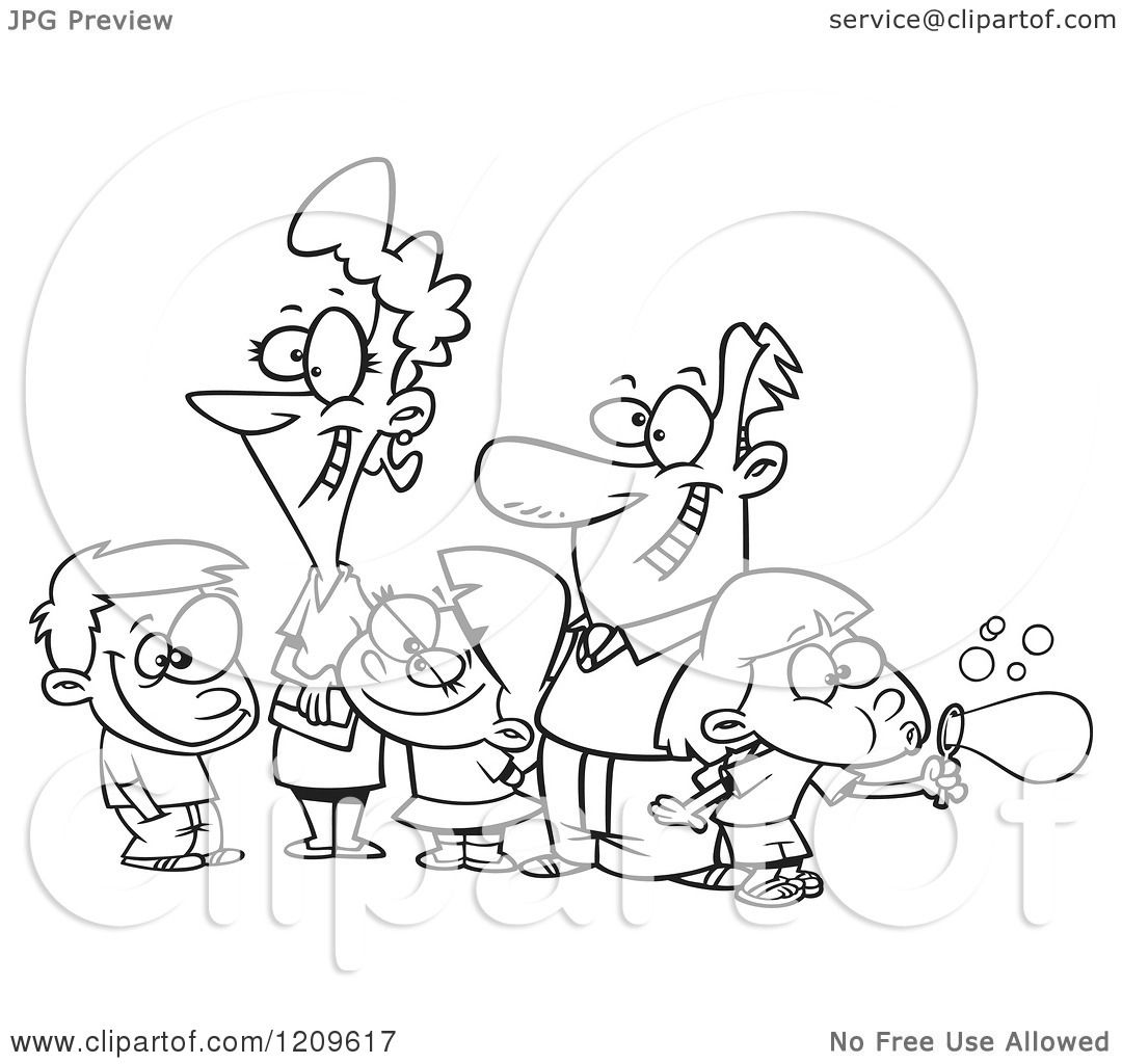 Cartoon of a Black and White Happy Family of Five - Royalty Free    Happy Family Cartoon Black And White