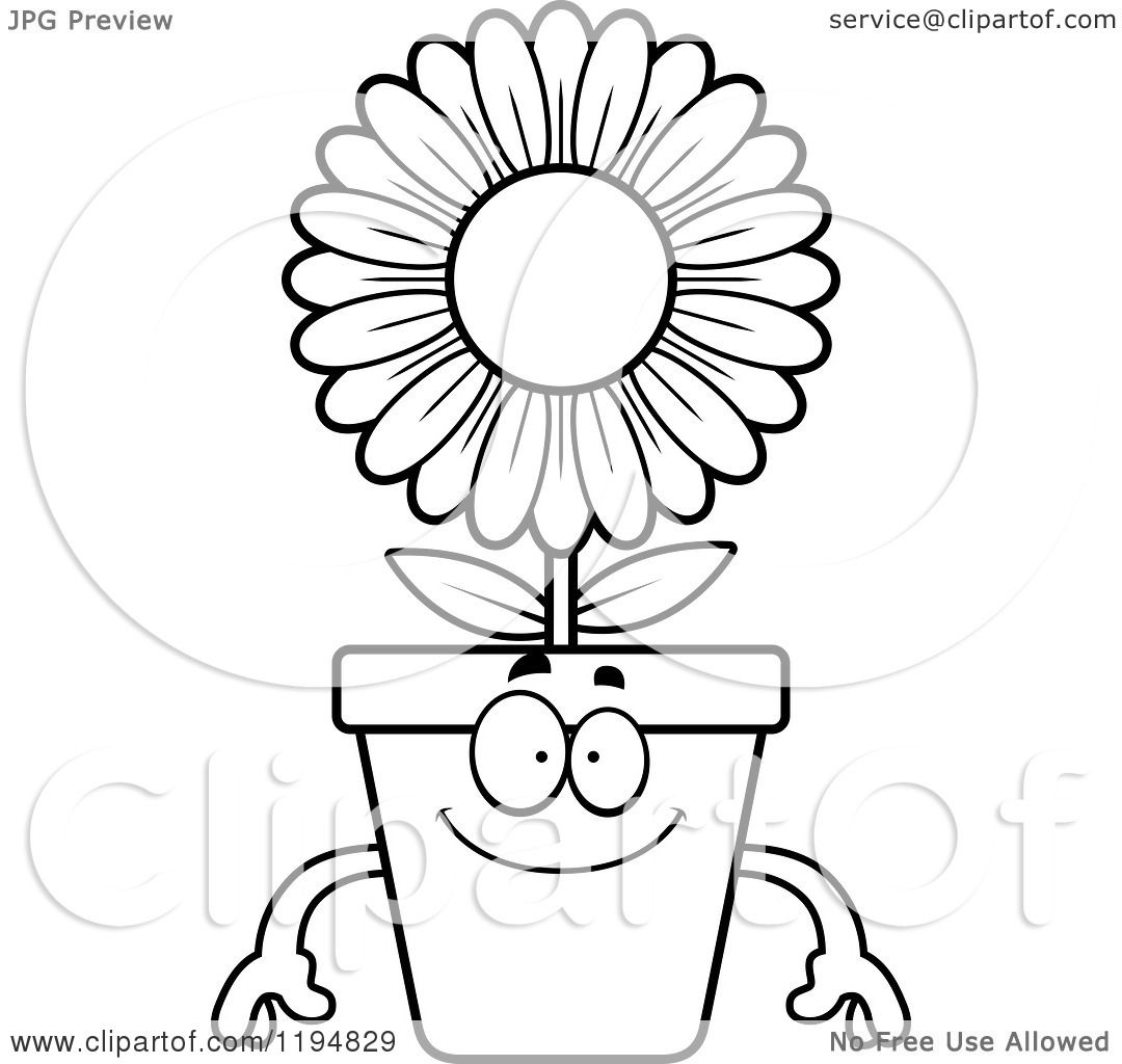 Flower Pot Clipart Black And White Flower Pot Clipart Black And