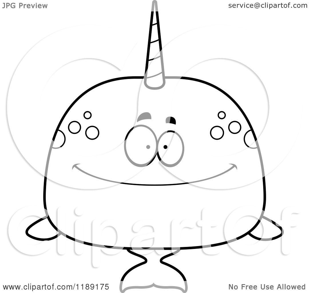 Coloring pages narwhal - Cartoon Of A Black And White Happy Narwhal Royalty Free Vector Clipart By Cory Thoman