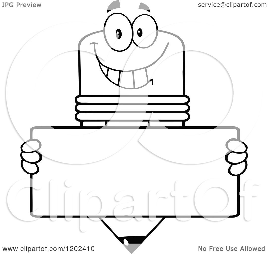 Cartoon of a Black and White Happy Pencil Mascot with a ...