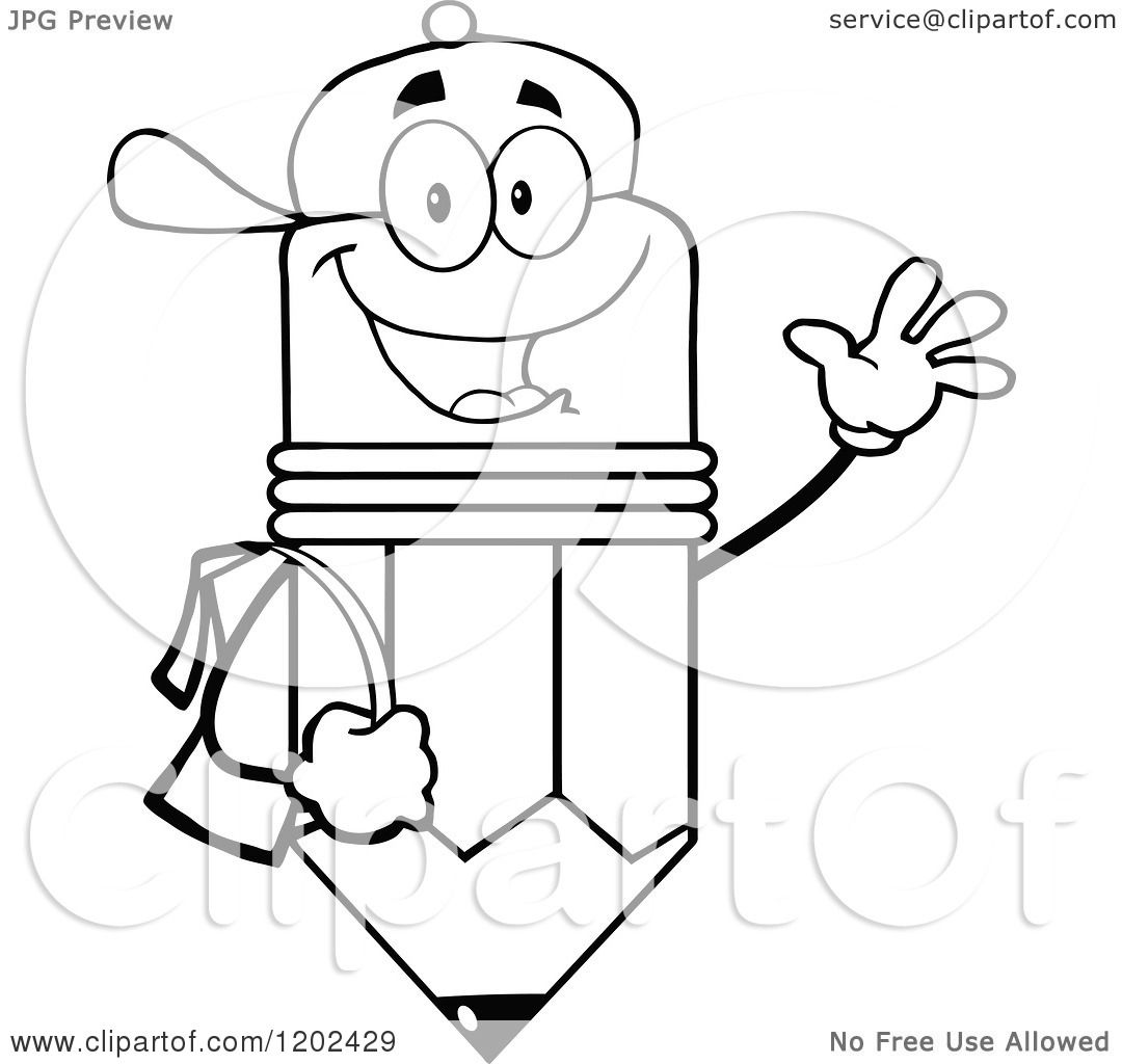 Cartoon of a Black and White Happy Pencil Student Mascot ...