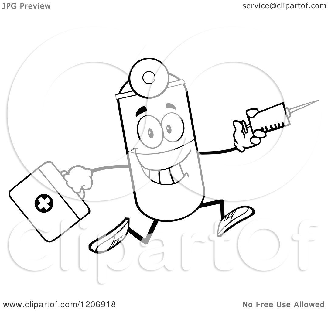 Cartoon of a Black and White Happy Pill Mascot Running with