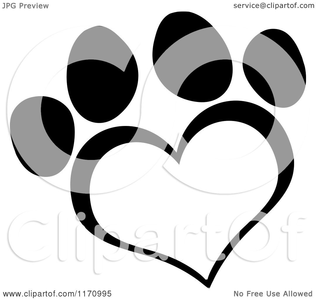 Cartoon Of A Black And White Heart Shaped Paw Print