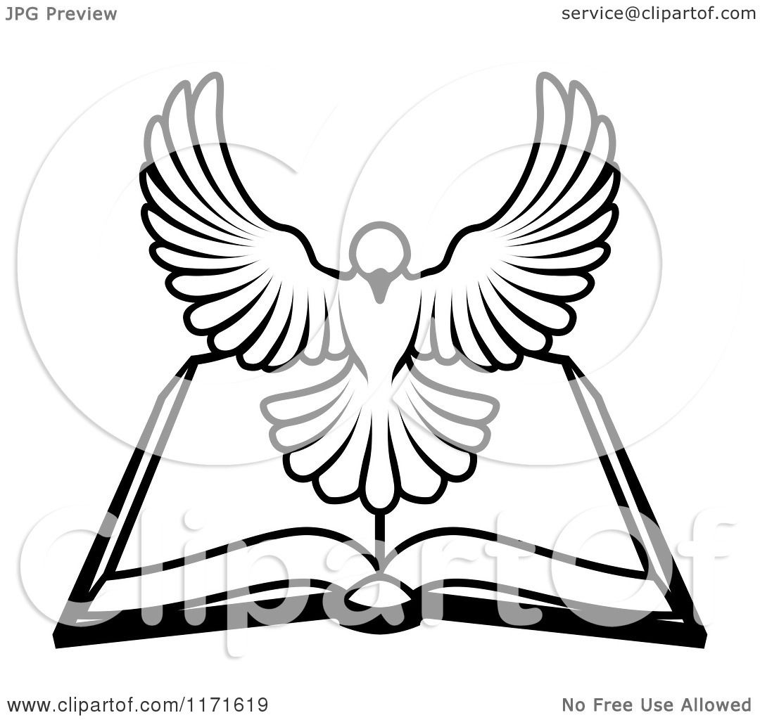 Cartoon of a black and white holy spirit dove above an for Open bible coloring page