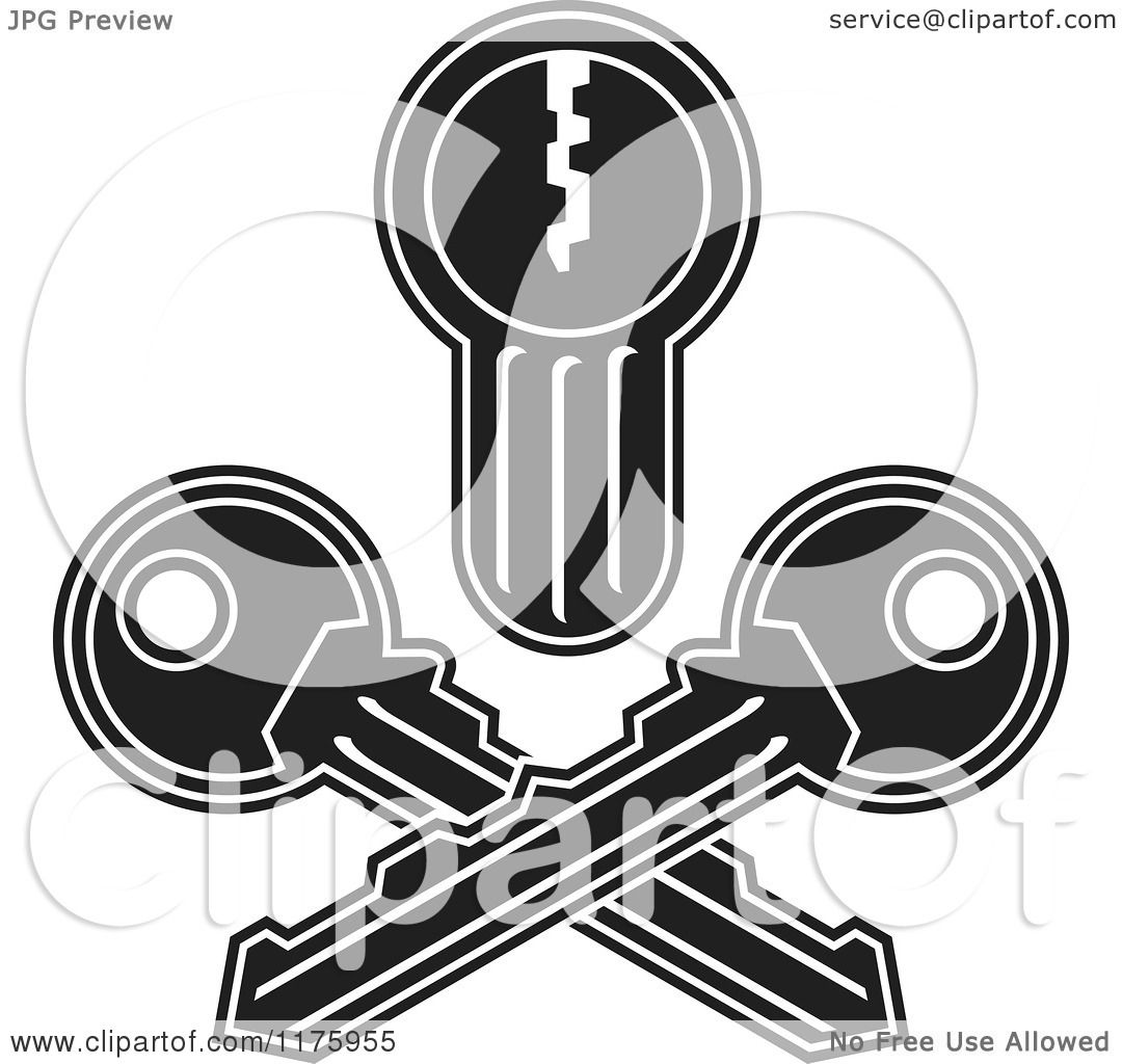 Cartoon of a Black and White Jolly Roger Lock and Crossed Keys ... for Lock And Key Clipart Black And White  186ref