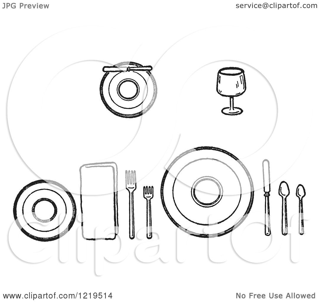 clipart of table place setting
