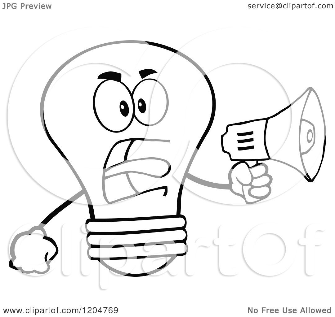 Cartoon Of A Black And White Light Bulb Mascot Announcing