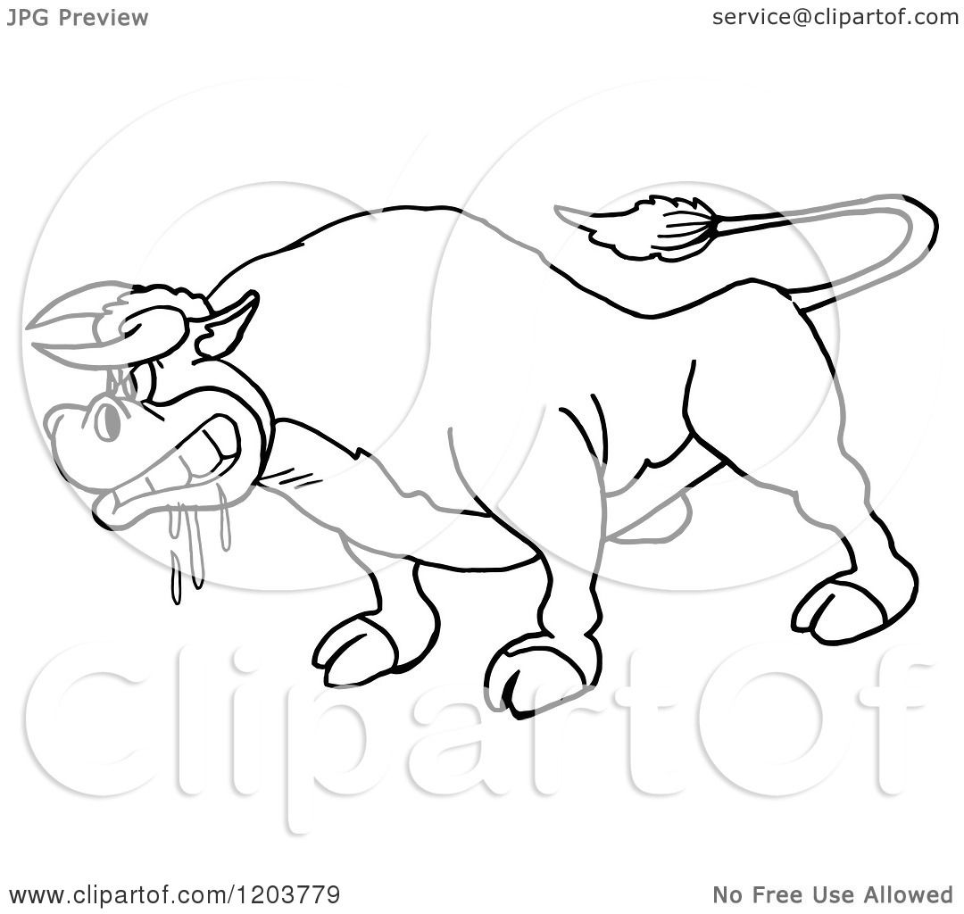 Cartoon of a Black and White Mad Salivating Bull - Royalty Free ...