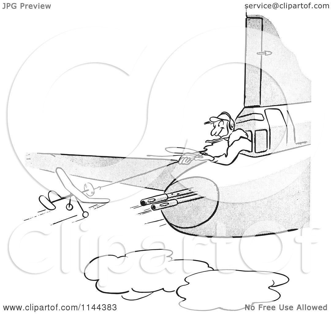 cartoon of a black and white man flying a toy plane near guns on