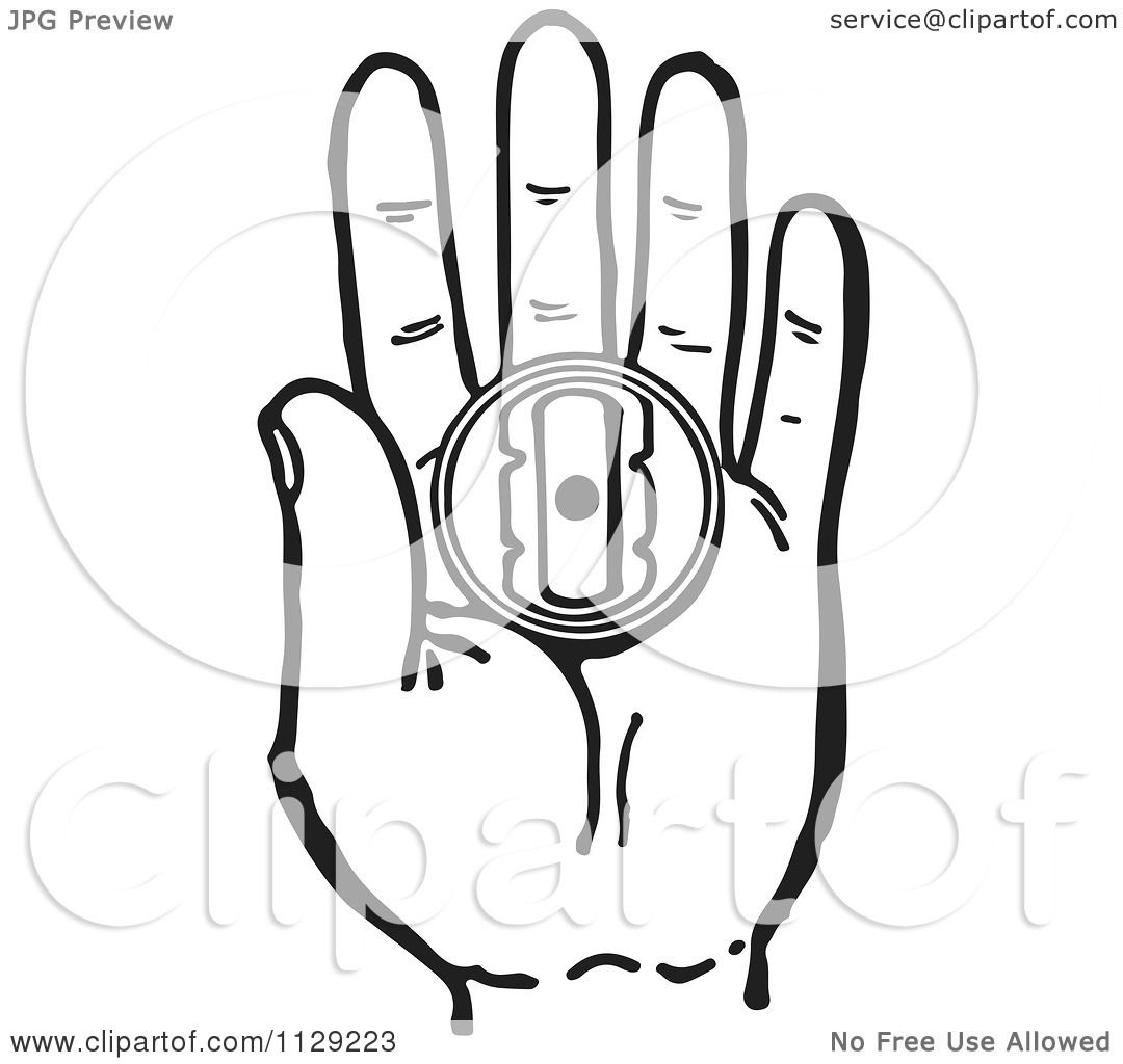 cartoon of a black and white retro hand holding a prank