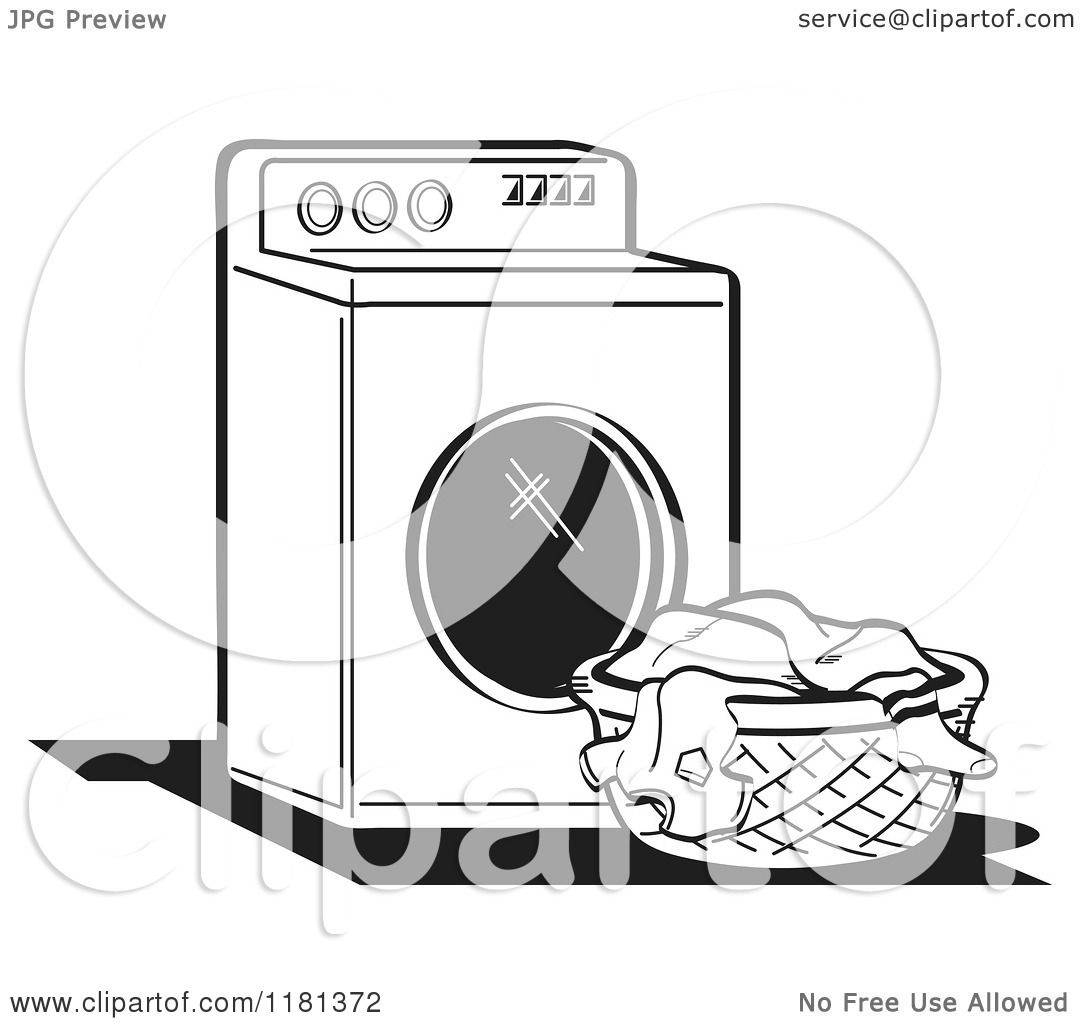 Royalty Free Clipart Illustration Of A Black And White Retro Washing