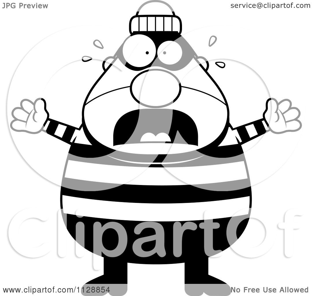 Cartoon Of A Black And White Scared Chubby Burglar Or