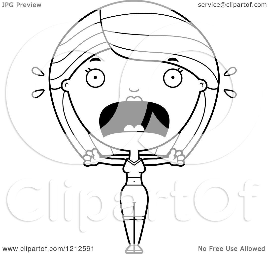 cartoon of a black and white scared fitness woman