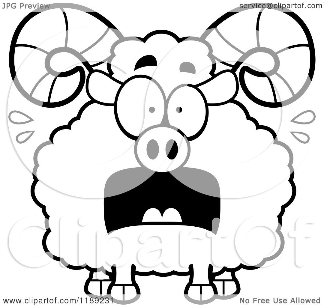 Cartoon of a Black and White Scared Ram Mascot - Royalty Free ...