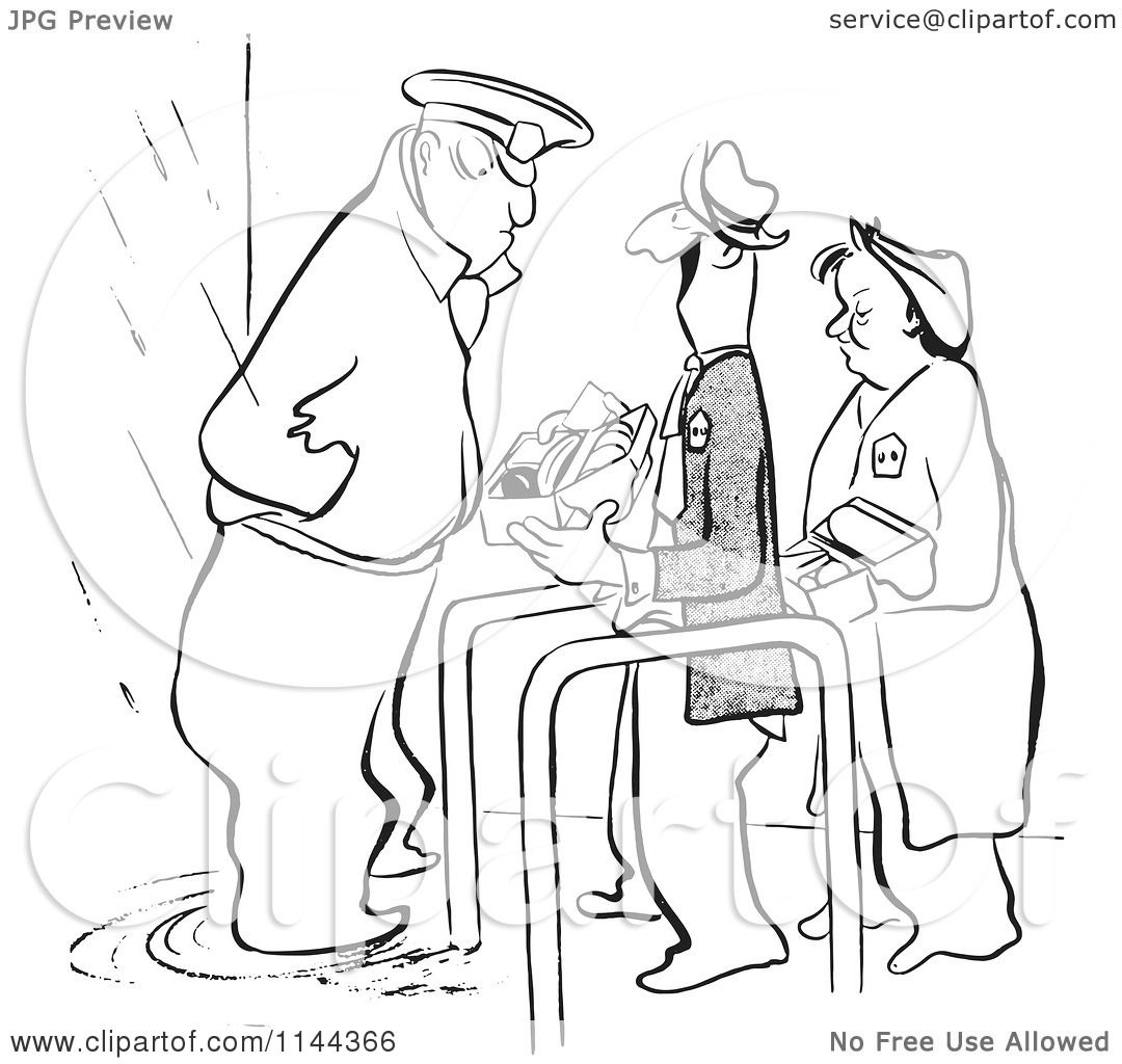 cartoon of a black and white security guard inspecting worker lunch boxes