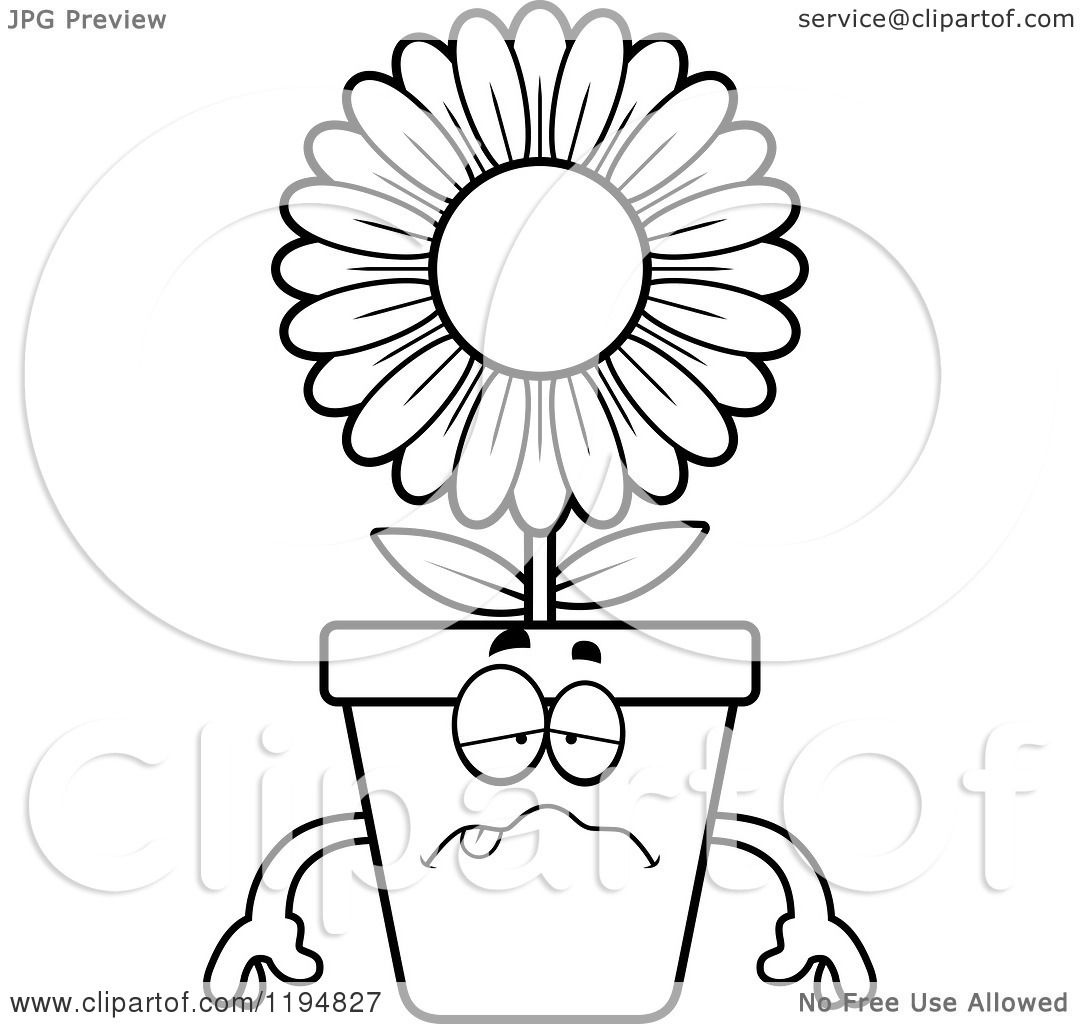 Black and white flower pots - Cartoon Of A Black And White Sick Flower Pot Mascot Royalty Free Vector Clipart By Cory Thoman