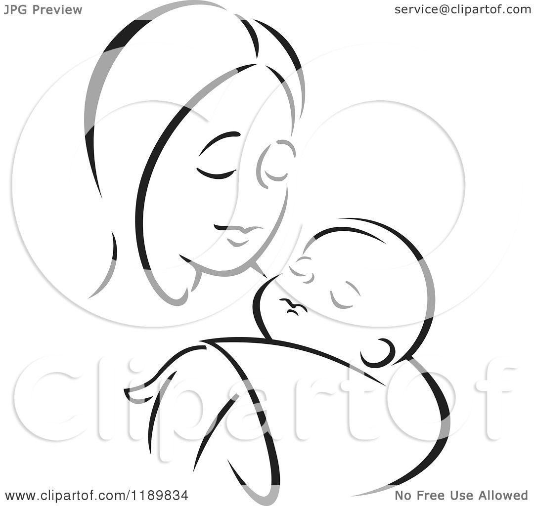 Cartoon of a Black and White Sketch of a Loving Mother