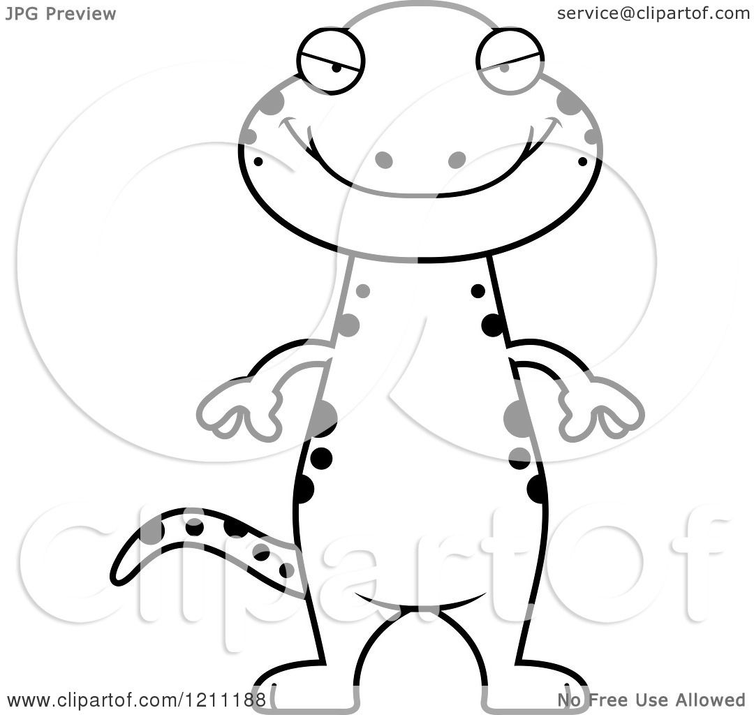 Salamander Clip Art Black And White Cartoon of a black and white