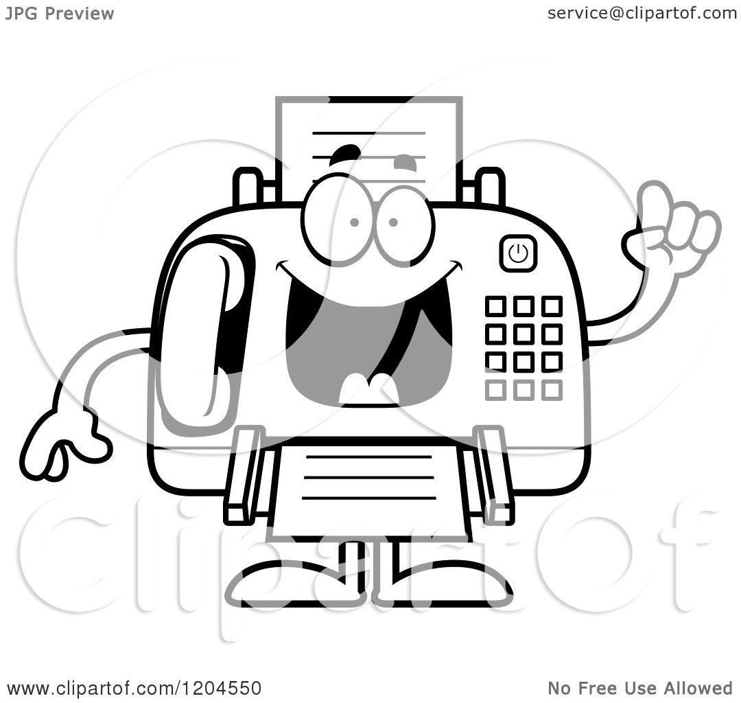 Cartoon Of A Black And White Smart Fax Machine - Royalty -5721
