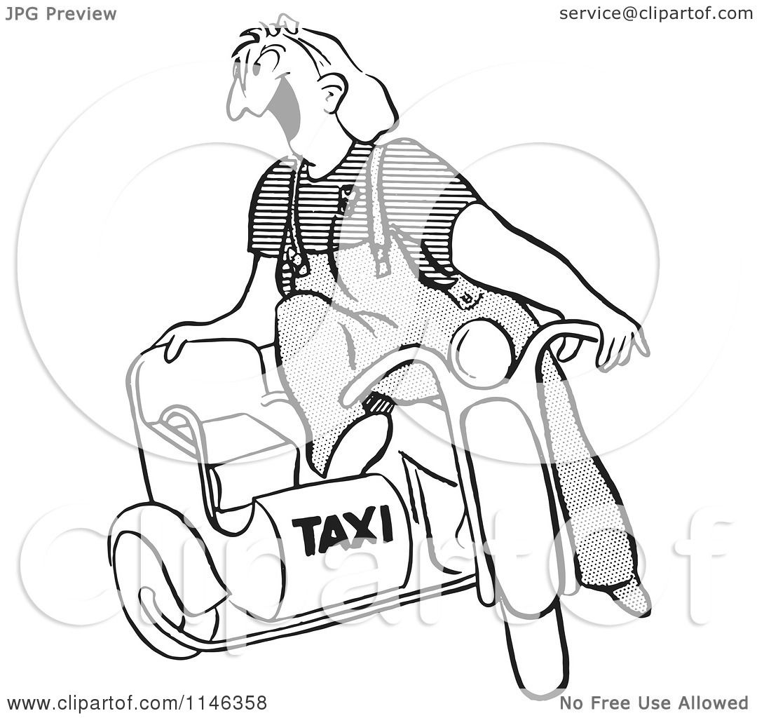 Cartoon Of A Black And White Taxi Driver Female Worker