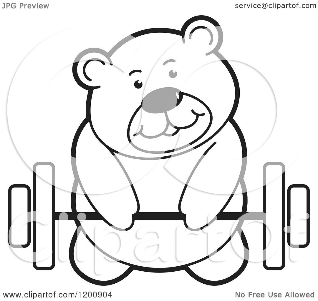 Cartoon of a Black and White Teddy Bear Lifting a Barbell ...