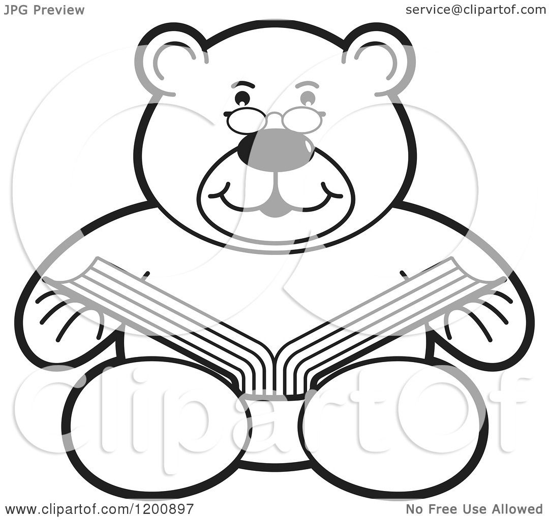 Cartoon of a Black and White Teddy Bear Reading a Book - Royalty ...