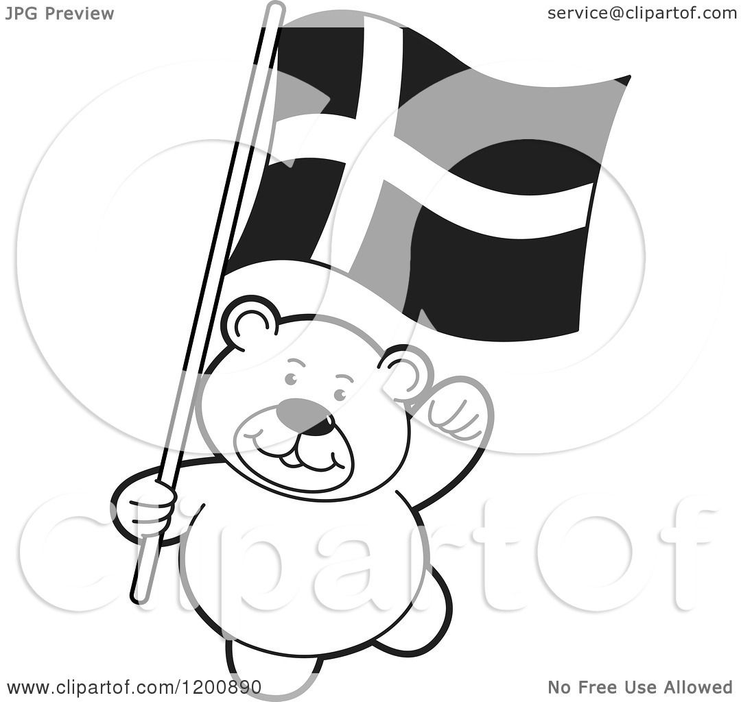 Cartoon of a Black and White Teddy Bear with a Denmark ...