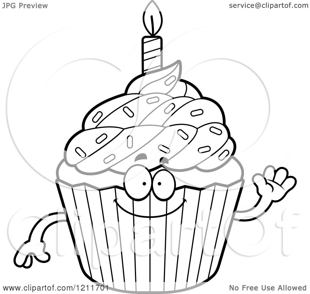 happy birthday cupcake coloring pages - photo#20