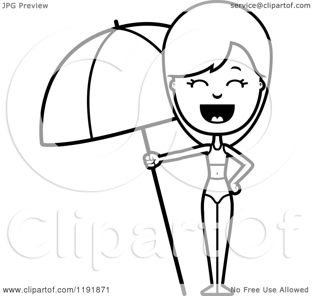 Free printable coloring pages of umbrellas - Beach Umbrella Coloring Pages Printable Cartoon Of A Black And White Woman In A Swimsuit