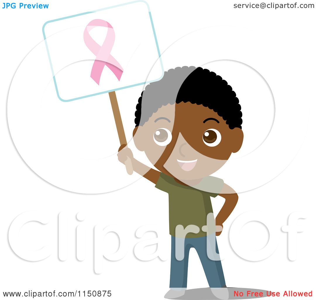 Cartoon of a Black Boy Holding up a Breast Cancer Awareness Sign ...