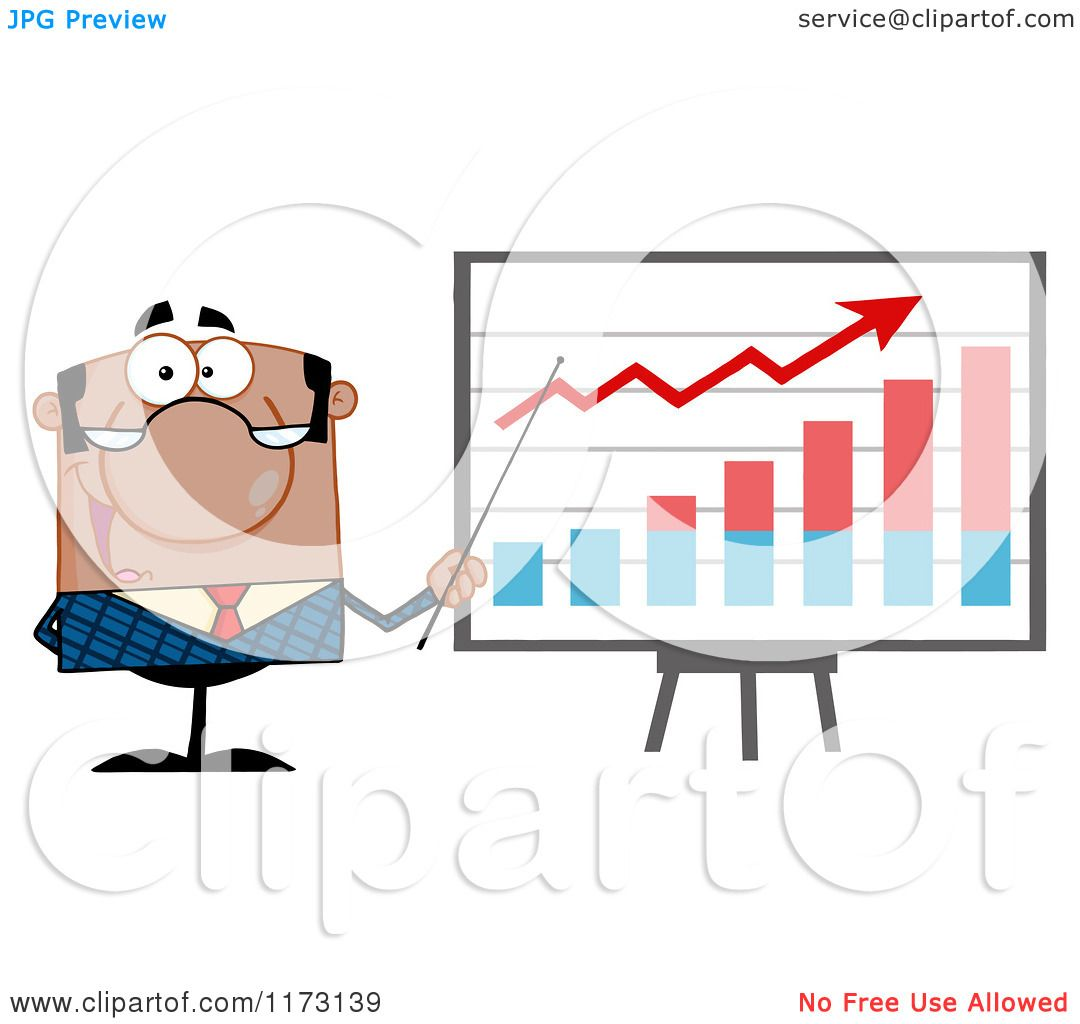 Cartoon of a Black Businessman Presenting a Growth Statistics ...