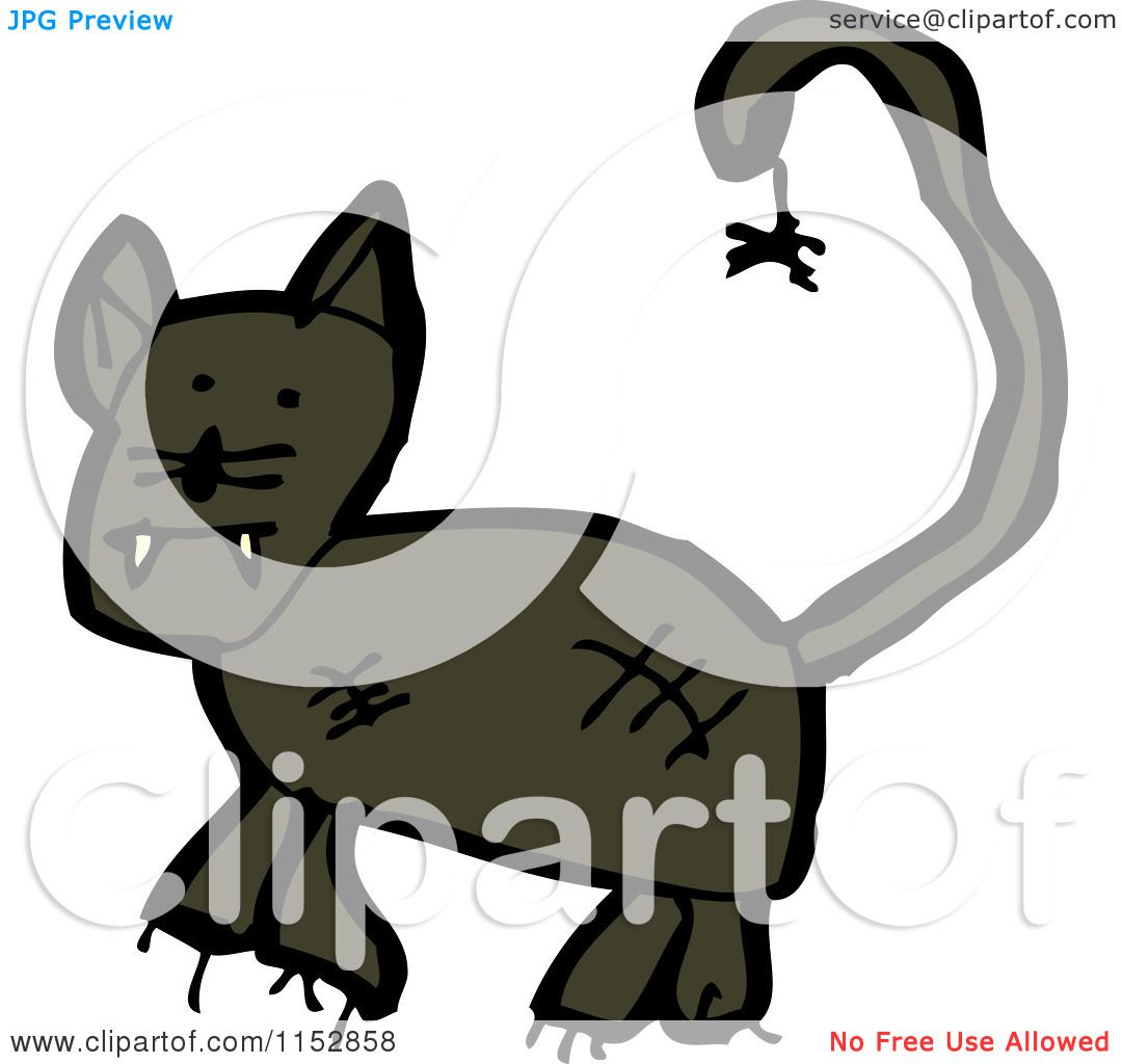 Cartoon of a Black Panther Cat - Royalty Free Vector ...