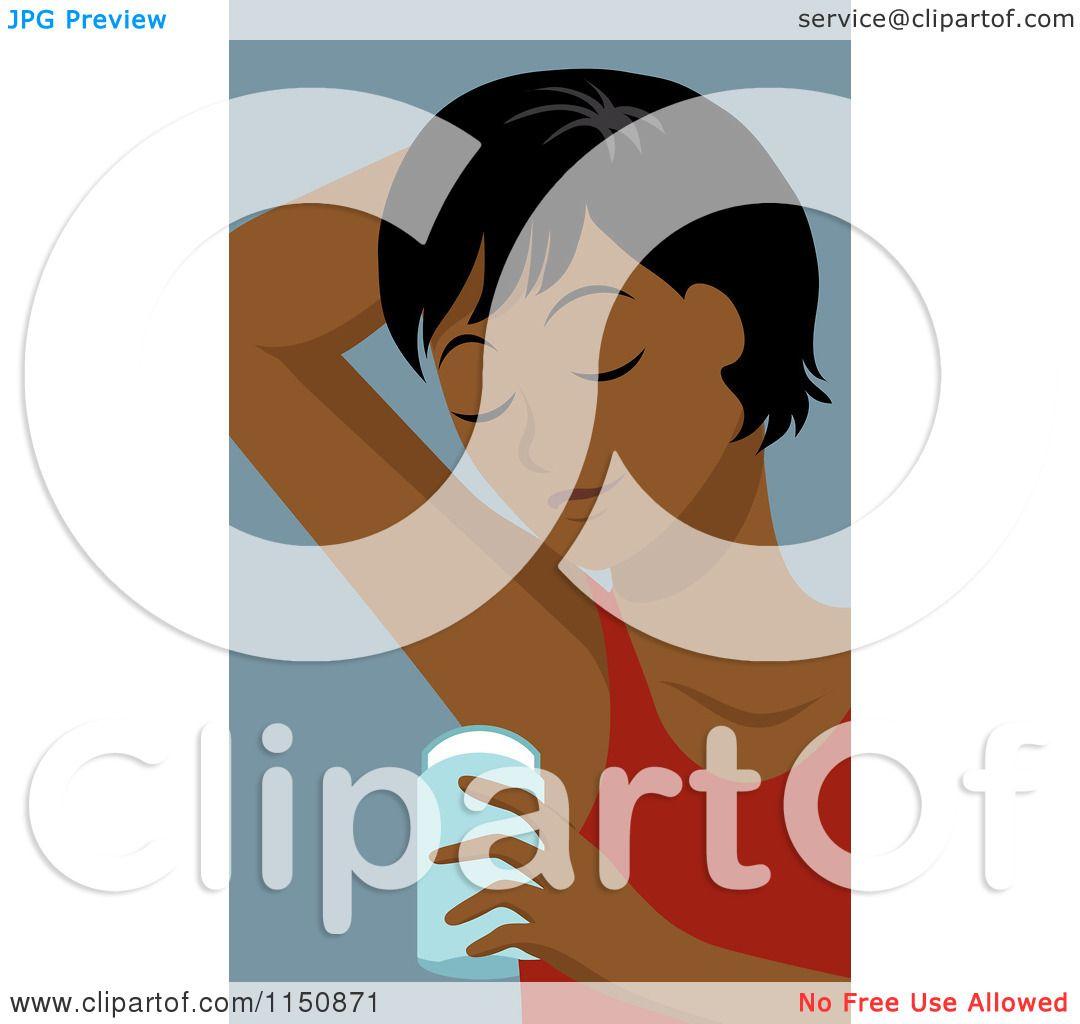 Cartoon Of A Black Woman Applying Underarm Deodorant