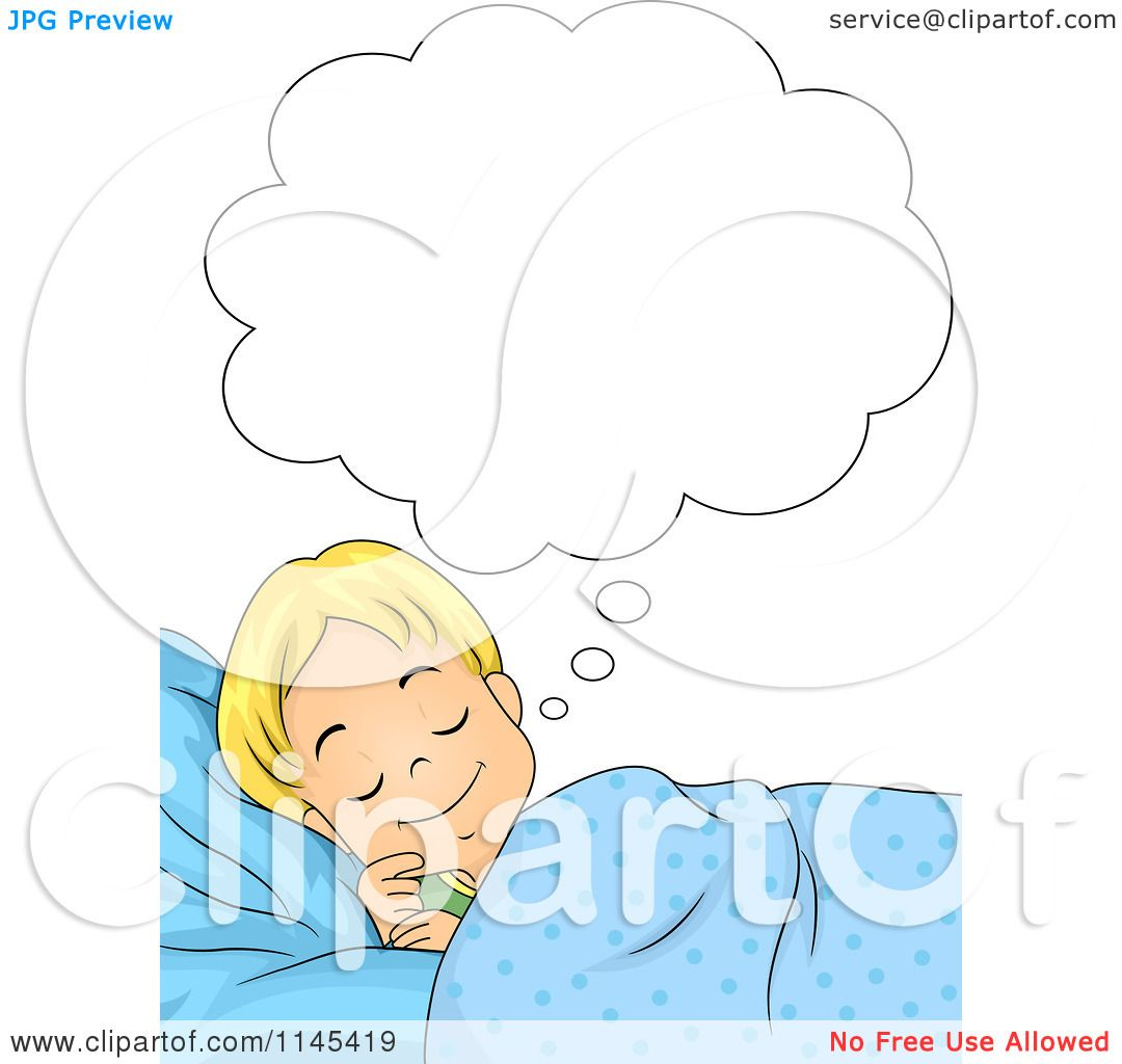 Cartoon of a Blond Boy Dreaming - Royalty Free Vector Clipart by ...