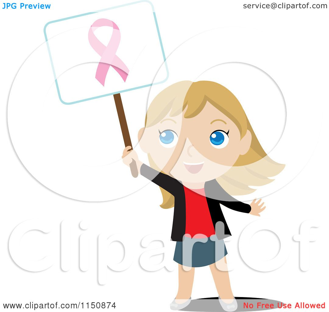 Cartoon of a Blond Girl Holding