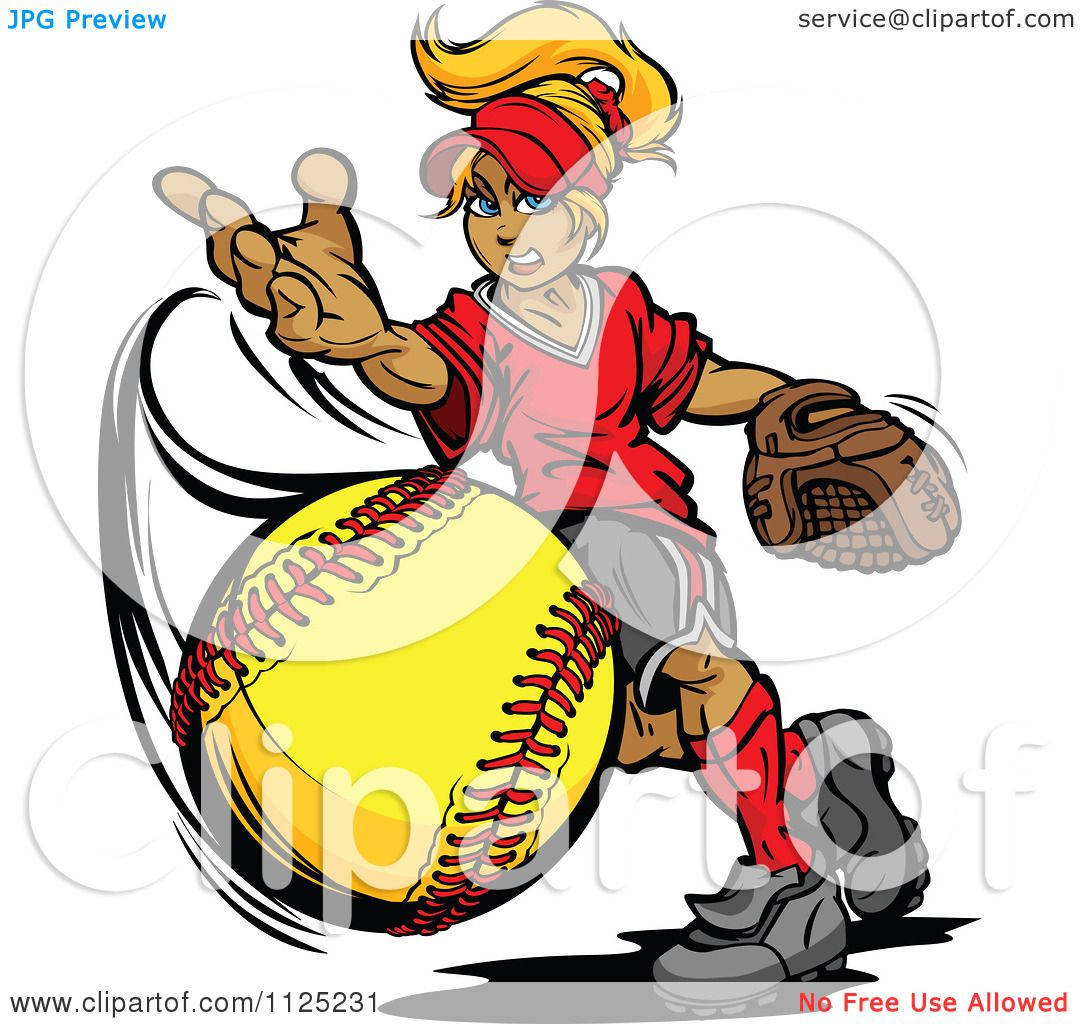 Coloring pages for softball -  Holiday Coloring Pages Softball Coloring Pages Free Clipart Illustration Of A Blond Tomboy Girl Pitching