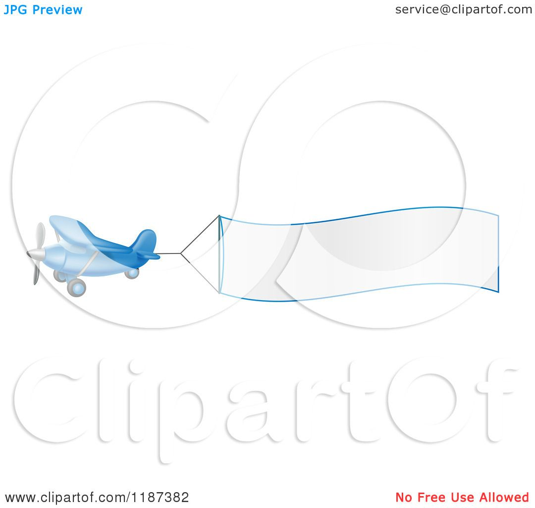 cartoon of a blue airplane with a trailing blank banner royalty