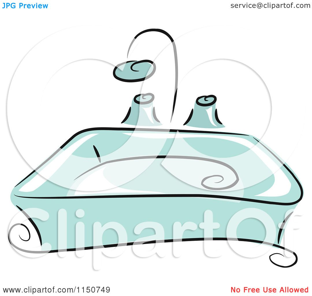 Cartoon of a Blue Bathroom Sink - Royalty Free Vector Clipart by ... for bathroom sink clipart  111bof