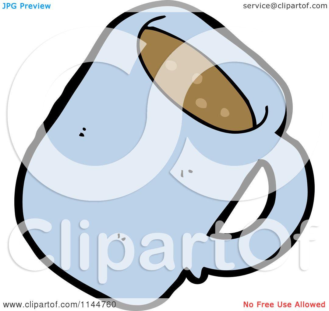 Cartoon Of A Blue Coffee Mug