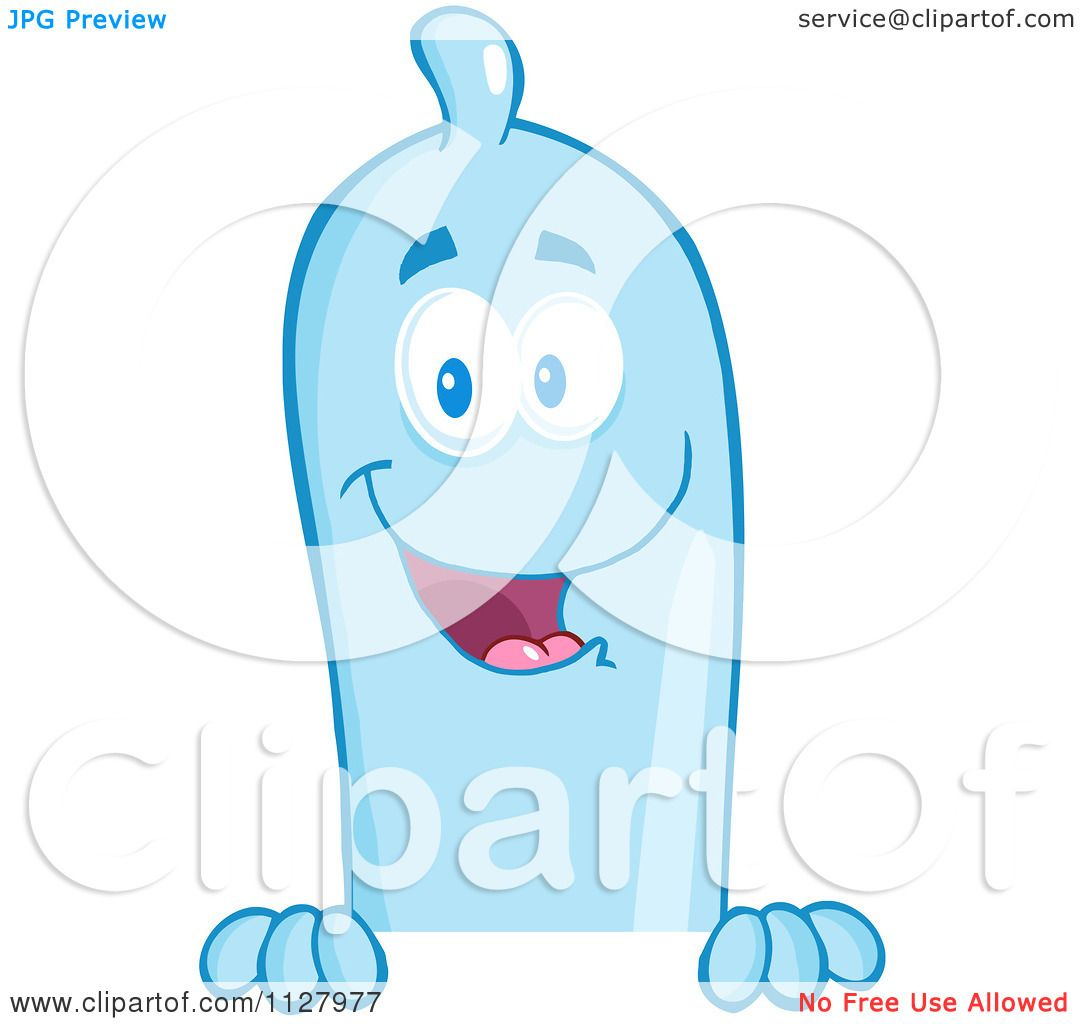Cartoon Of A Blue Latex Condom Mascot Over A Sign - Royalty Free ...