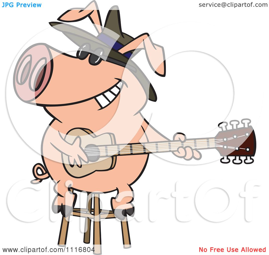 Cartoon Of A Blues Pig Musician Playing A Guitar - Royalty Free ...