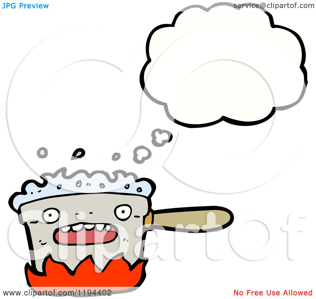 Cartoon of a Boiling Pot Thinking - Royalty Free Vector ...