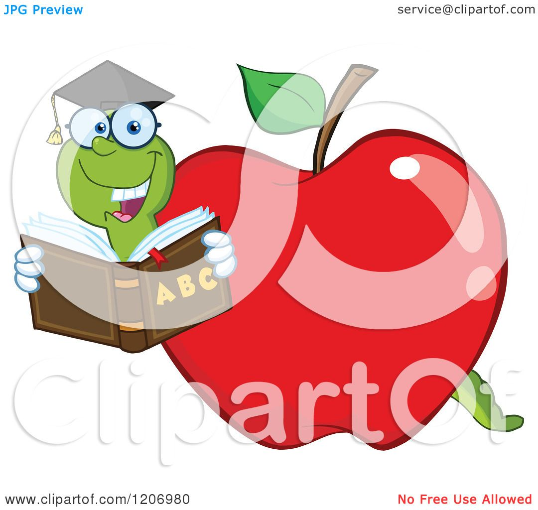 cartoon of a bookworm in a apple royalty free vector